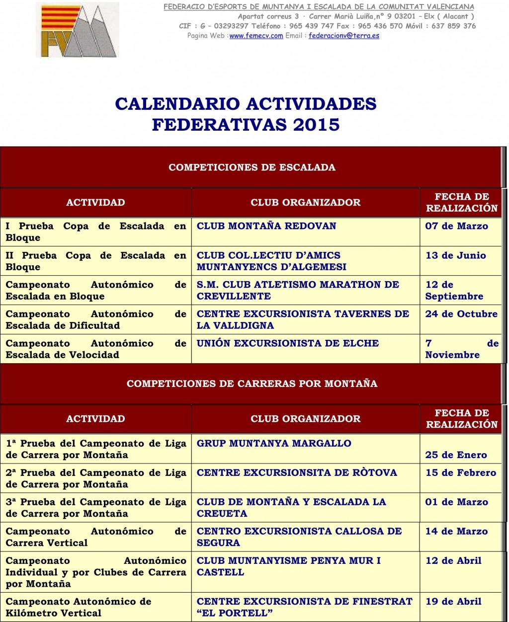 ACTIVIDADES PARA 2015-1